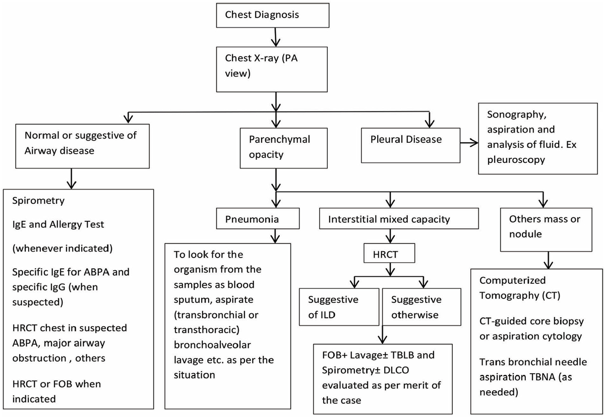 Figure 1 Algorithm for the diagnosis of lung diseases (modified from Dasgupta <i>et al.</i>[5]<b>).</b>